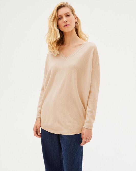Extra large V-neck - Sepia beige