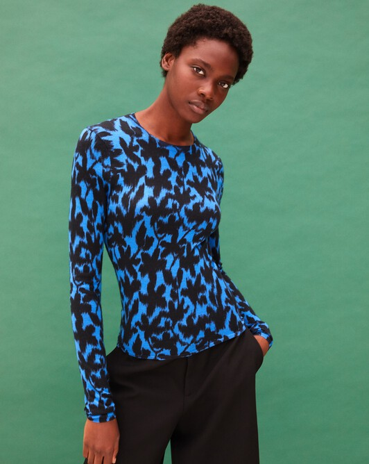 Ikat flower print crew neck pullover - Cobalt