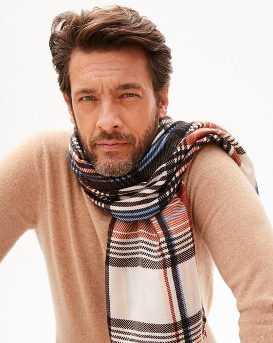 Tartan square scarf 120 x 120 cm - Sepia beige/everbay