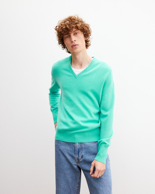 Classic V-neck pullover - Palm beach