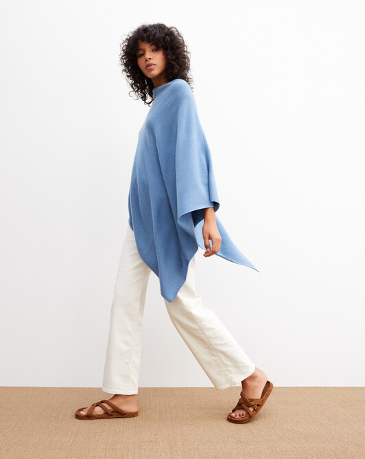 Long poncho - Bleu egyptien