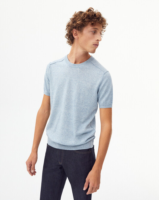 Short-sleeved cashmere/linen crew-neck sweater - Denim blue