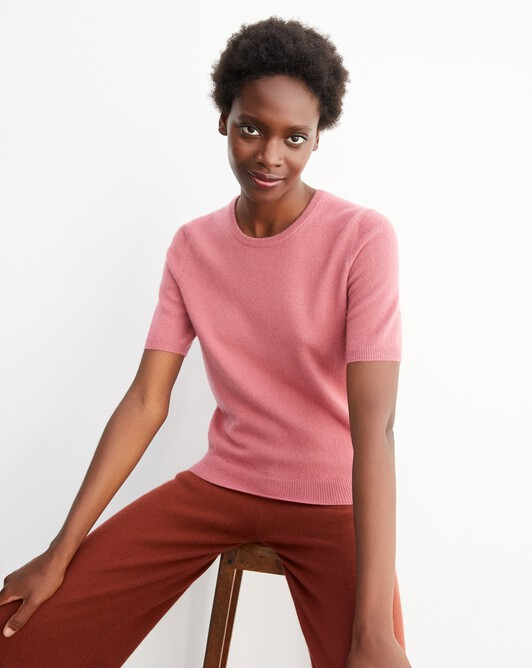 Classic short-sleeved crew neck pullover - Rosewood