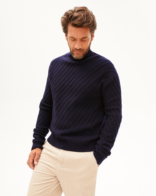 Diagonal-rib turtleneck sweater - Navy blue