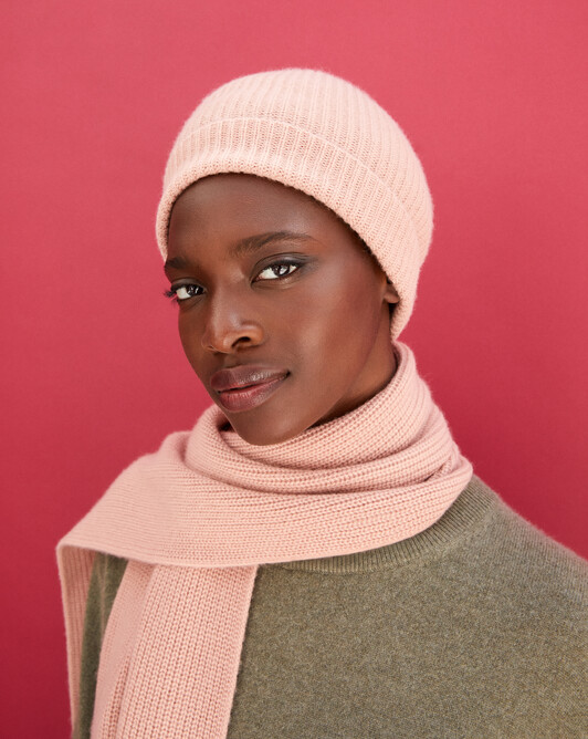 Half cardigan rib hat - Blush