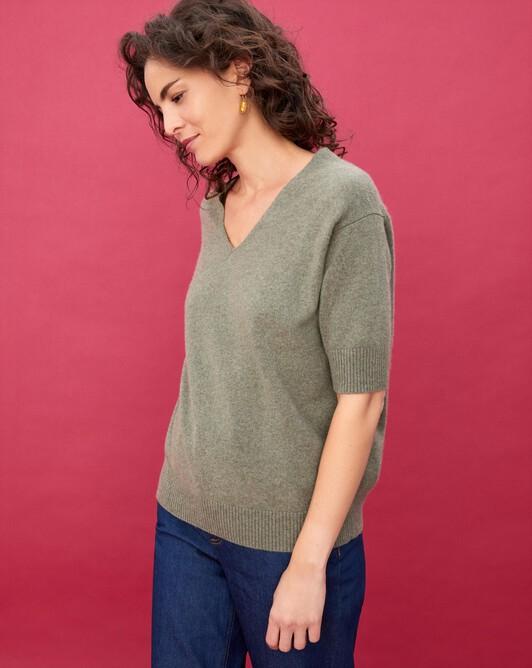 Contemporary short-sleeved maxi V-neck - Khaki