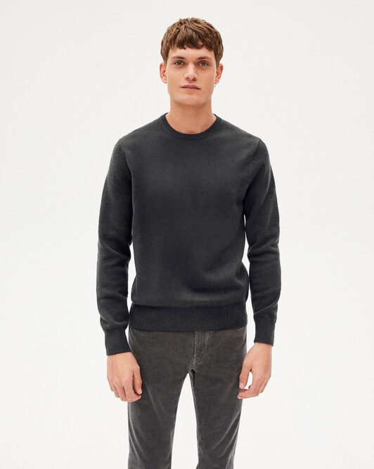 4-ply crew neck pullover - Charcoal grey