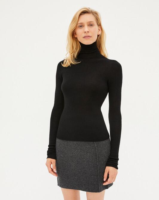 Seamless extrafine roll-neck sweater sweater - Black