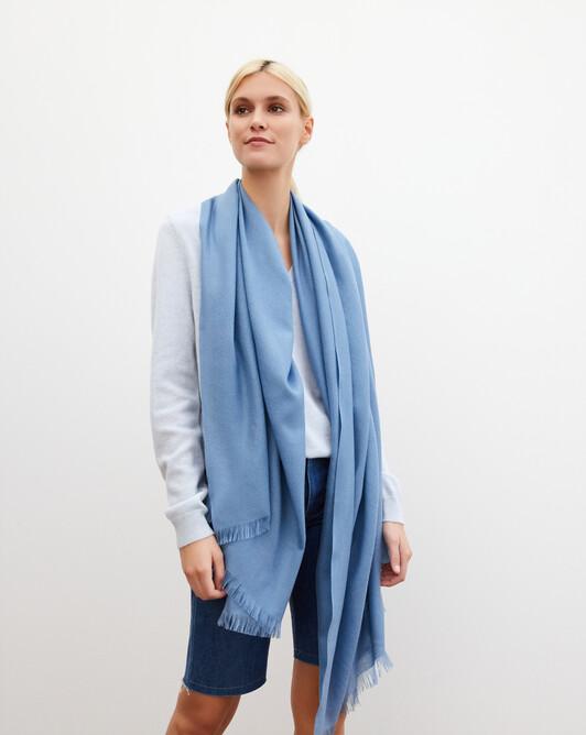 Cashmere voile stole 180 cm x 85 cm - Egyptian blue