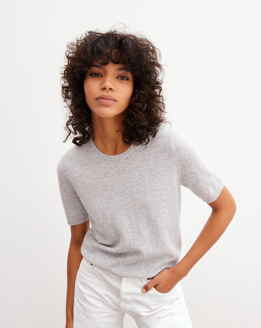 Classic short-sleeved crew neck pullover - Frost grey