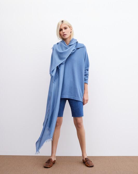 Giant cashmere voile stole 250 cm x 120 cm - Egyptian blue