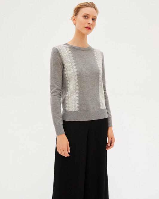 Ras de cou ultrafin jacquard dentelle manches blouses - Flanelle