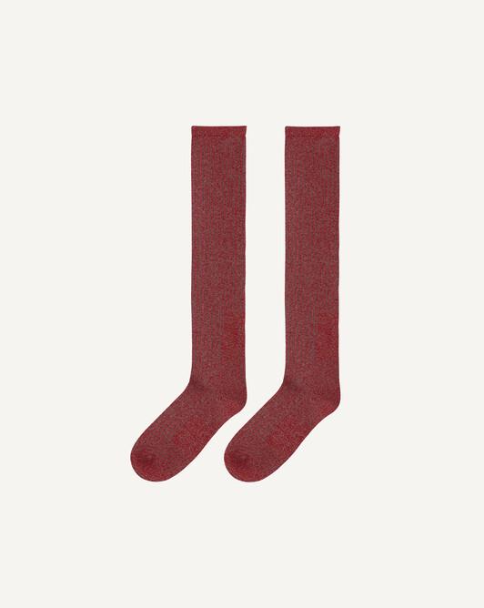 Long marl socks - Ruby red/camel