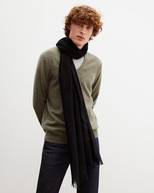 Cashmere voile scarf 150 cm x 55 cm - Black