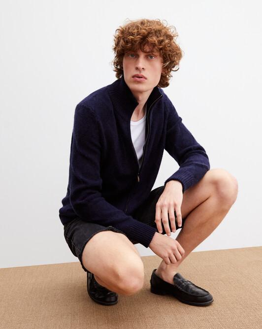 Diamond stitch zipped blouson jacket - Navy blue