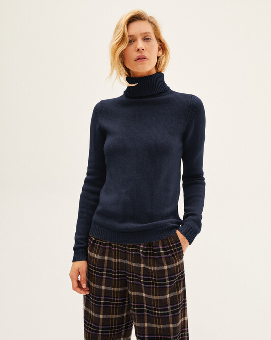 6-ply roll-neck sweater sweater - Navy blue