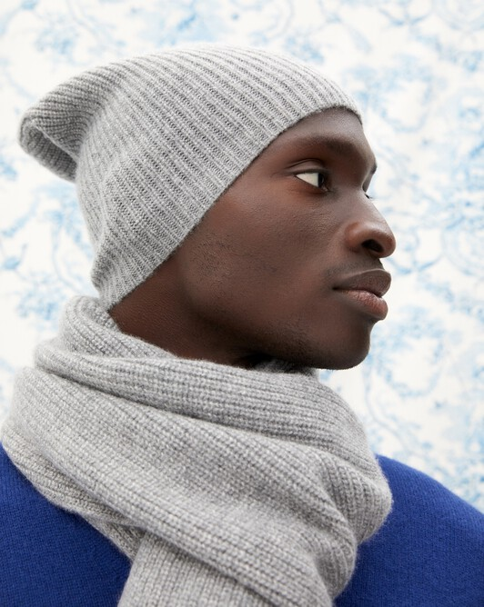 Half cardigan rib hat - Flannel grey