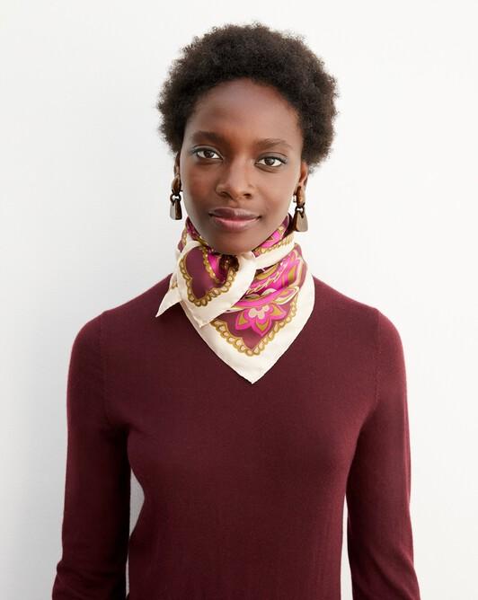 Maxi paisley print silk square scarf 65 cm x 65 cm - Azuki