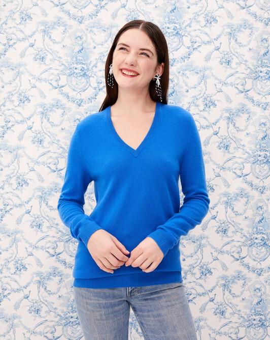 Classic V-neck pullover - Cobalt