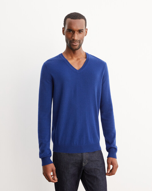 Fitted V-neck pullover - Royal