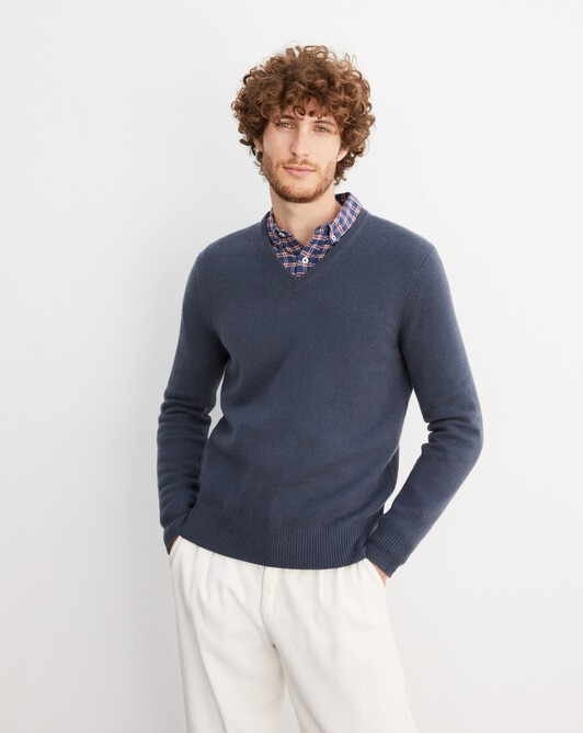 4-ply V-neck pullover - Incense