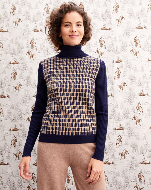 Tailored jacquard roll-neck - Navy blue/camel