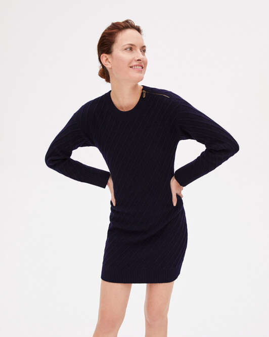 Zipped digonal-rib dress - Navy blue