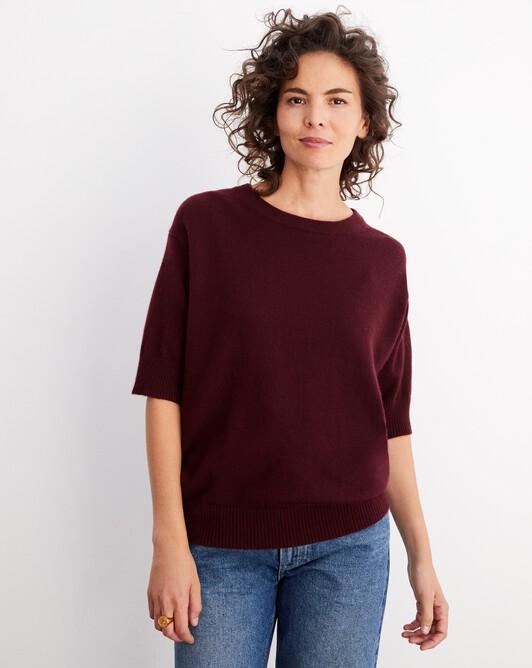Contemporary short-sleeved maxi crew neck pullover - Azuki