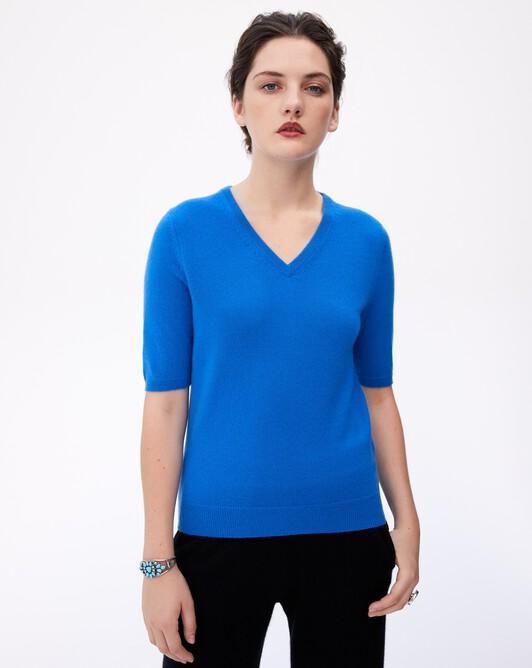 Timeless short-sleeved V-neck pullover - Cobalt
