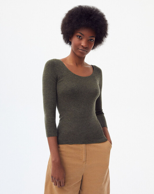 Seamless extrafine ribs dancer's collar sweater - Khaki
