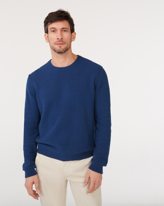 Honeycomb stitches crew neck sweater - Indigo