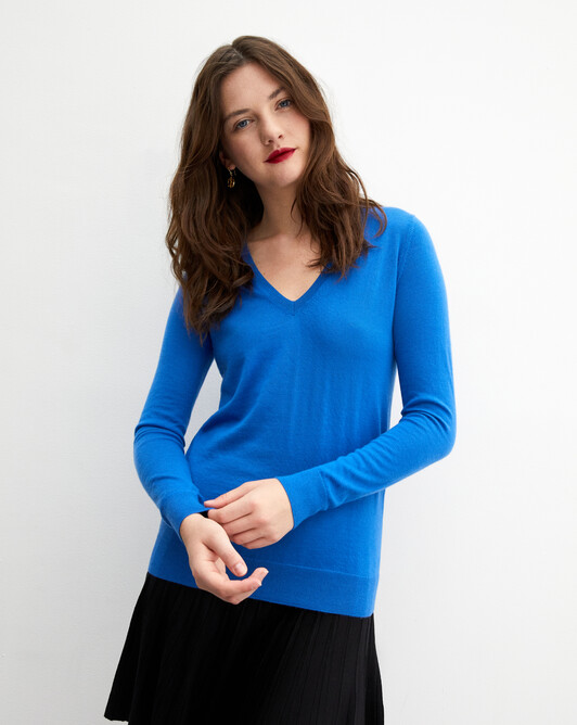 Contemporary extrafine V-neck pullover - Cobalt