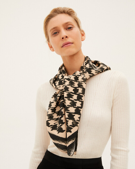 Houndstooth silk square scarf - Sepia beige