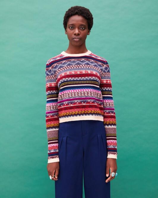 Multicoloured fair isle jacquard crew neck pullover - Multicoloured