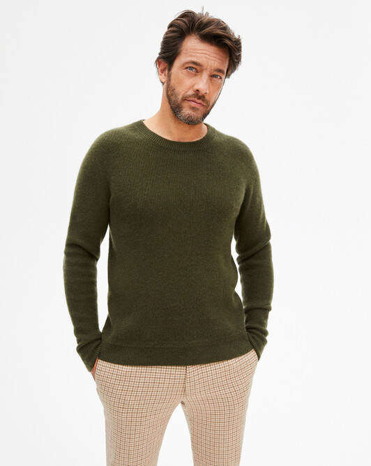 Ribbed crew neck pullover - Kale