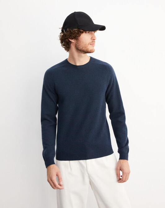 Fitted crew neck pullover with offset shoulders - Graphite blue