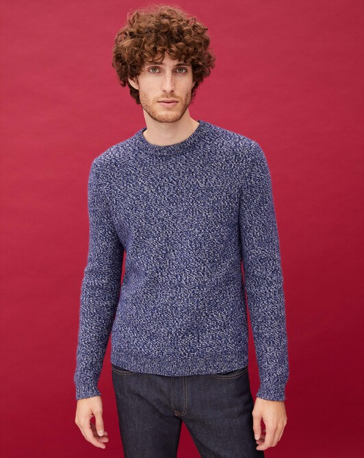 Marl moss stitch crew neck pullover - Marled navy blue