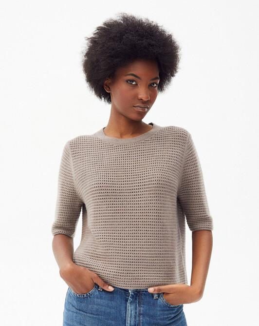 Short-sleeved giant fishnet crew-neck sweater - Coriander