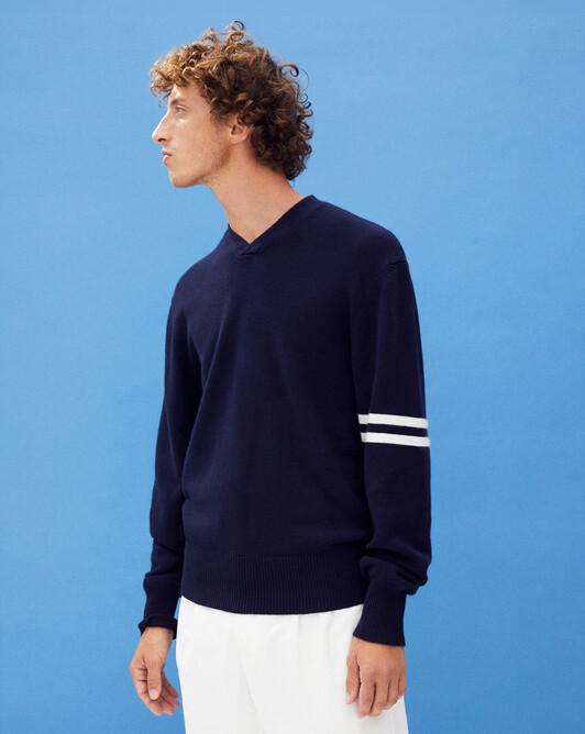 Striped sleeve v-neck sweater - Navy blue/autumn white