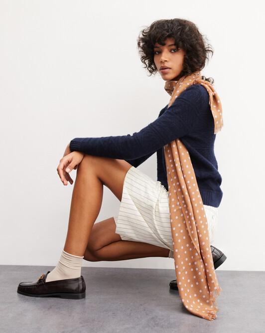 Polka dot printed scarf 150cm x 55cm - Vicuna
