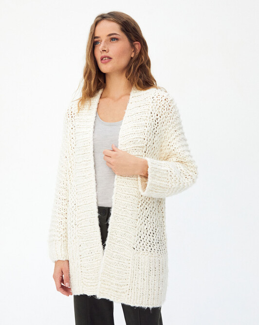 Veste tricot main - Naturel
