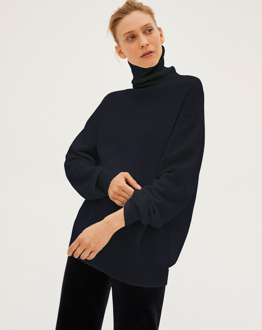 Loose roll-neck sweater - Navy blue