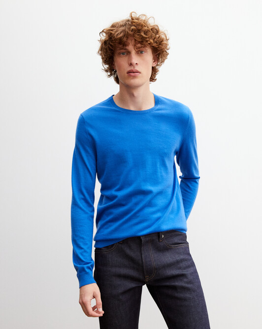 Contemporary extrafine crew neck pullover - French blue