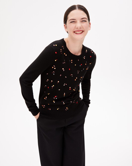 Jewelled knit crew neck pullover - Black