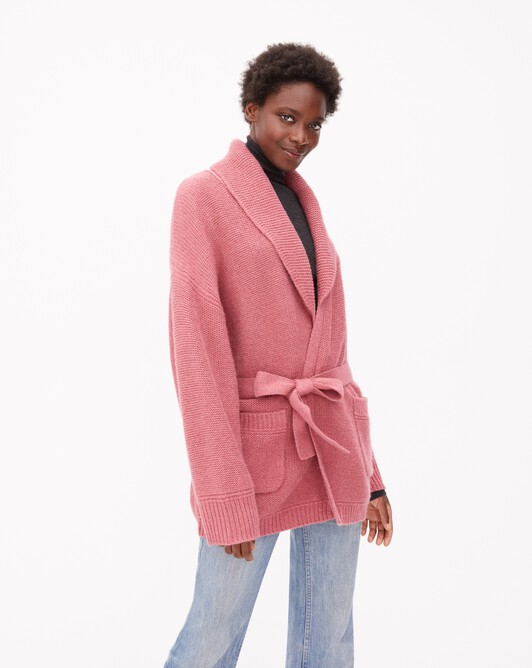 Veste en alpaga cachemire col châle - Bois de rose