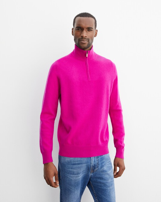2-ply half-zip pullover - Fushia