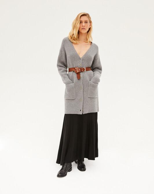 Rib long cardigan with pockets - Flannel grey