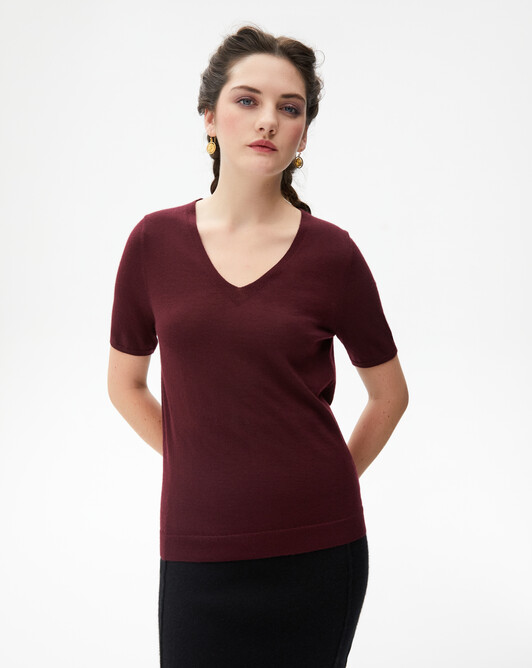 Contemporary extrafine short-sleeved V-neck - Azuki