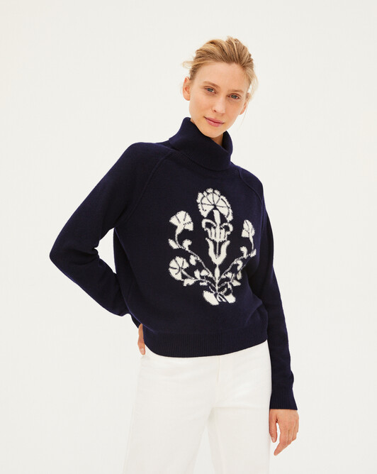 Intarsia blazon roll-neck sweater - Navy blue