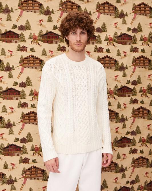 Aran cable-stitch crew neck pullover - Autumn white